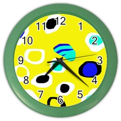 Yellow Abstract Pattern Color Wall Clocks by Valentinaart