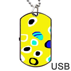 Yellow Abstract Pattern Dog Tag Usb Flash (one Side) by Valentinaart