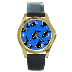 Cute Fishes Round Gold Metal Watch by Valentinaart