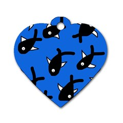 Cute Fishes Dog Tag Heart (one Side) by Valentinaart