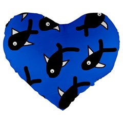 Cute Fishes Large 19  Premium Heart Shape Cushions by Valentinaart