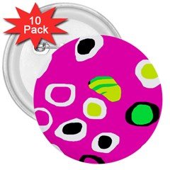 Pink Abstract Pattern 3  Buttons (10 Pack)  by Valentinaart