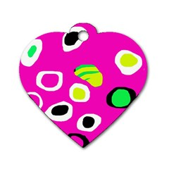 Pink Abstract Pattern Dog Tag Heart (one Side) by Valentinaart
