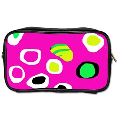 Pink Abstract Pattern Toiletries Bags 2 Side by Valentinaart