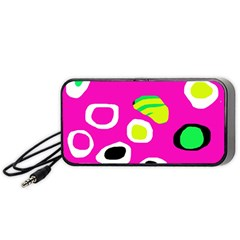 Pink Abstract Pattern Portable Speaker (black)  by Valentinaart