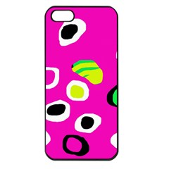 Pink Abstract Pattern Apple Iphone 5 Seamless Case (black) by Valentinaart
