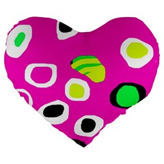Pink Abstract Pattern Large 19  Premium Heart Shape Cushions by Valentinaart
