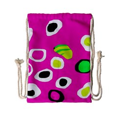 Pink Abstract Pattern Drawstring Bag (small) by Valentinaart