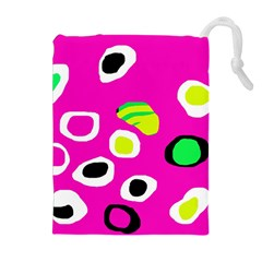 Pink Abstract Pattern Drawstring Pouches (extra Large) by Valentinaart