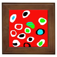 Red Abstract Pattern Framed Tiles by Valentinaart