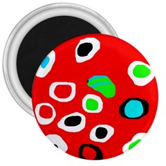Red Abstract Pattern 3  Magnets by Valentinaart