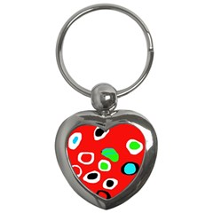 Red Abstract Pattern Key Chains (heart)  by Valentinaart