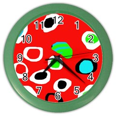 Red Abstract Pattern Color Wall Clocks by Valentinaart