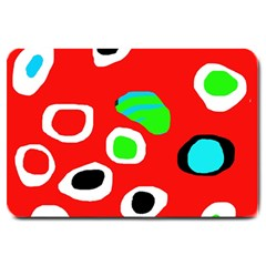 Red Abstract Pattern Large Doormat  by Valentinaart