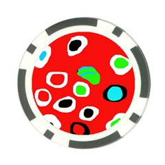 Red Abstract Pattern Poker Chip Card Guards by Valentinaart