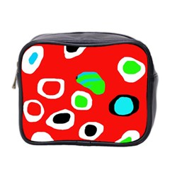 Red Abstract Pattern Mini Toiletries Bag 2 Side by Valentinaart