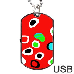 Red Abstract Pattern Dog Tag Usb Flash (one Side) by Valentinaart