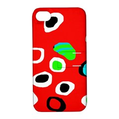 Red Abstract Pattern Apple Iphone 4/4s Hardshell Case With Stand by Valentinaart