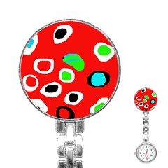 Red Abstract Pattern Stainless Steel Nurses Watch by Valentinaart