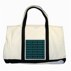Dots Pattern Turquoise Blue Two Tone Tote Bag by BrightVibesDesign