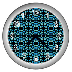Dots Pattern Turquoise Blue Wall Clocks (silver)  by BrightVibesDesign