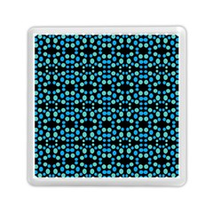 Dots Pattern Turquoise Blue Memory Card Reader (square)  by BrightVibesDesign