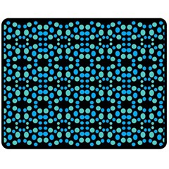 Dots Pattern Turquoise Blue Double Sided Fleece Blanket (medium)  by BrightVibesDesign