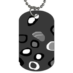 Gray Abstract Pattern Dog Tag (one Side) by Valentinaart