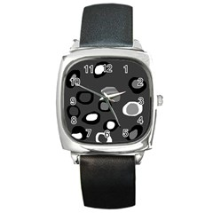 Gray Abstract Pattern Square Metal Watch by Valentinaart