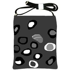 Gray Abstract Pattern Shoulder Sling Bags by Valentinaart
