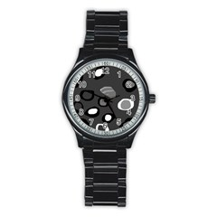 Gray Abstract Pattern Stainless Steel Round Watch by Valentinaart