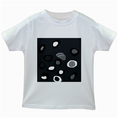 Gray Abstract Pattern Kids White T Shirts by Valentinaart