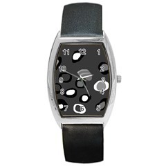 Gray Abstract Pattern Barrel Style Metal Watch by Valentinaart