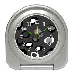 Gray Abstract Pattern Travel Alarm Clocks by Valentinaart