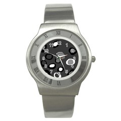 Gray Abstract Pattern Stainless Steel Watch by Valentinaart