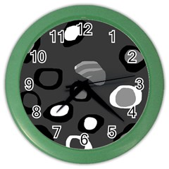Gray Abstract Pattern Color Wall Clocks