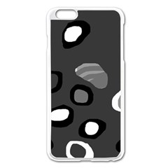 Gray Abstract Pattern Apple Iphone 6 Plus/6s Plus Enamel White Case by Valentinaart