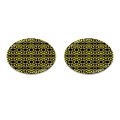 Dots Pattern Yellow Cufflinks (oval) by BrightVibesDesign