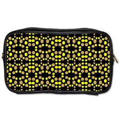 Dots Pattern Yellow Toiletries Bags by BrightVibesDesign