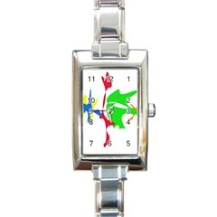 Colorful Amoeba Abstraction Rectangle Italian Charm Watch by Valentinaart