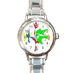 Colorful Amoeba Abstraction Round Italian Charm Watch by Valentinaart