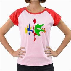 Colorful Amoeba Abstraction Women s Cap Sleeve T Shirt by Valentinaart