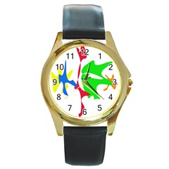 Colorful Amoeba Abstraction Round Gold Metal Watch by Valentinaart