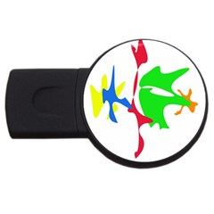 Colorful Amoeba Abstraction Usb Flash Drive Round (2 Gb)  by Valentinaart