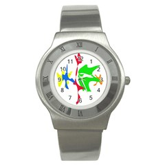 Colorful Amoeba Abstraction Stainless Steel Watch by Valentinaart