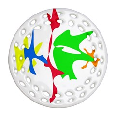 Colorful Amoeba Abstraction Ornament (round Filigree)  by Valentinaart