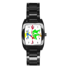 Colorful Amoeba Abstraction Stainless Steel Barrel Watch by Valentinaart