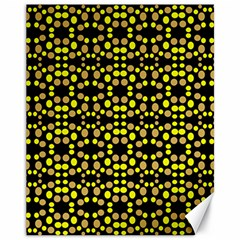 Dots Pattern Yellow Canvas 11  X 14   by BrightVibesDesign