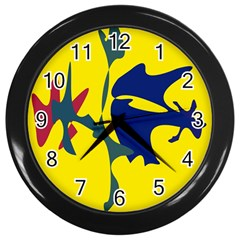 Yellow Amoeba Abstraction Wall Clocks (black) by Valentinaart