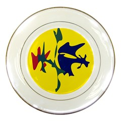 Yellow Amoeba Abstraction Porcelain Plates by Valentinaart